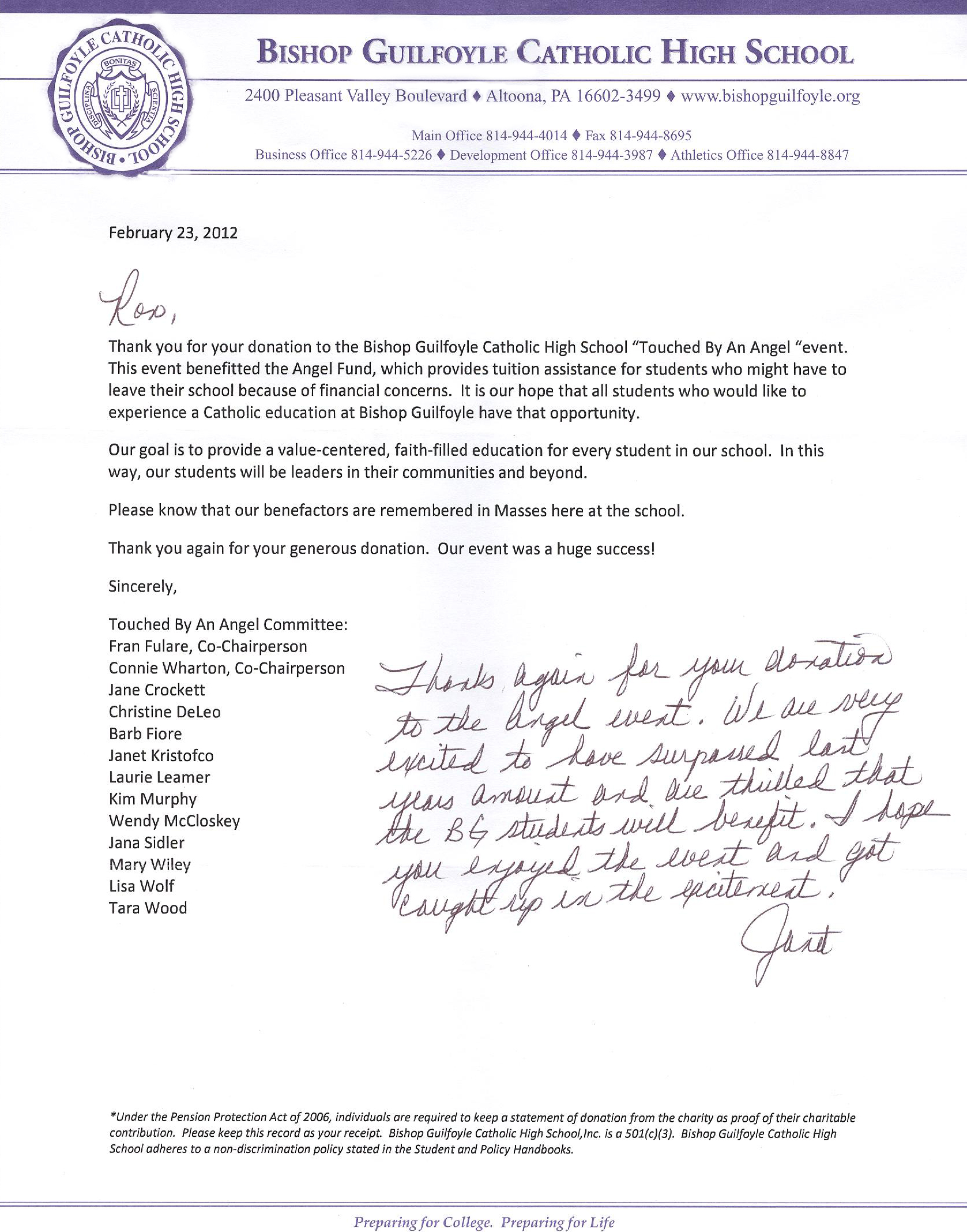 Professionals auto body community feedback thank you letter from bishop guilfoyle high school for our donation to their touched by an angel event altavistaventures Choice Image