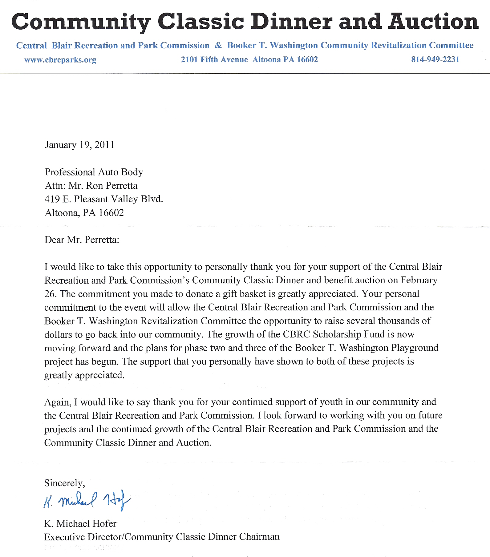 Professionals Auto Body Community Feedback – Thank You Letter for Donations